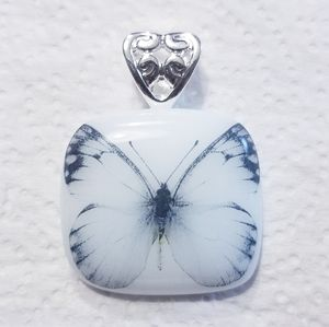 White/black 🦋 butterfly glass pendant